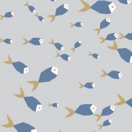 Cadeaupapier rol | vissen grijs/blauw | 30 cm x 2 meter