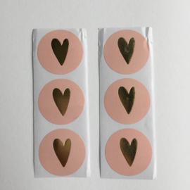 Sticker hart | pastel roze met gouden hartje | 20 stuks