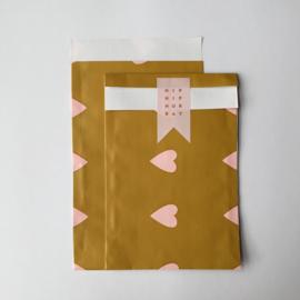 Zakje | Love Heart Ochre / baby pink | 10 stuks