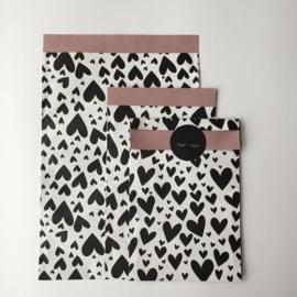 Zakjes | Hearts Black | Pink - 10 stuks