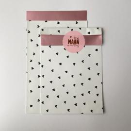 Zakjes | hartjes wit/roze/zwart | 10 stuks