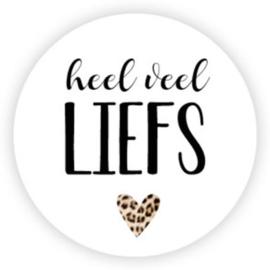 Sticker rond   Heel veel liefs (tijgerprint)   20 stuks