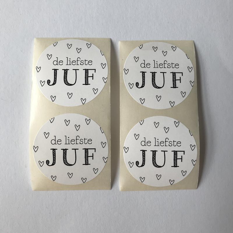 Sticker rond   De liefste juf   5 stuks
