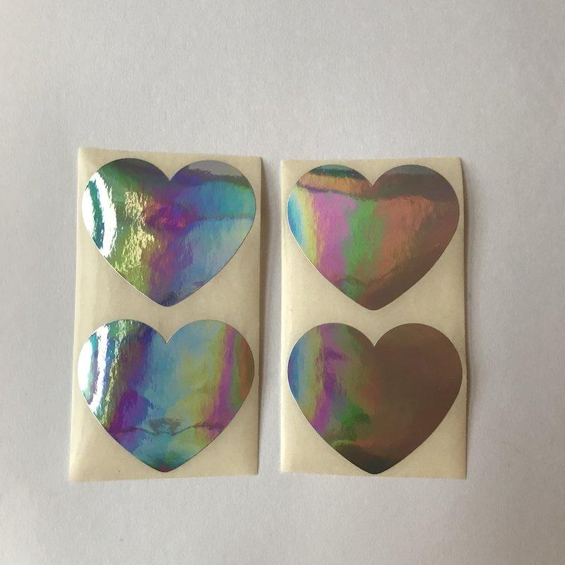 Sticker hartje   groot 5 cm holografisch folie   20 stuks