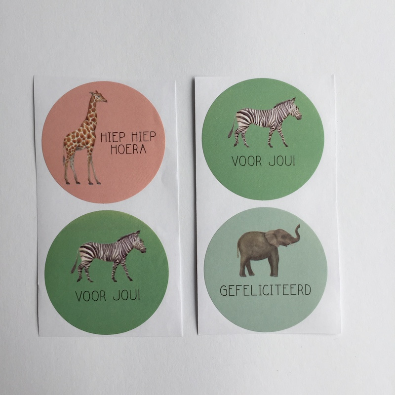 Sticker | Jungle kind Nederland (giraf, olifant en zebra) | mint, groen en roze | 9 stuks