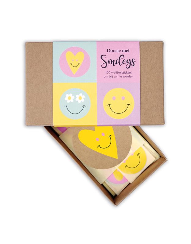 Sticker rond   smiley in een doosje diverse formaten   100 stuks