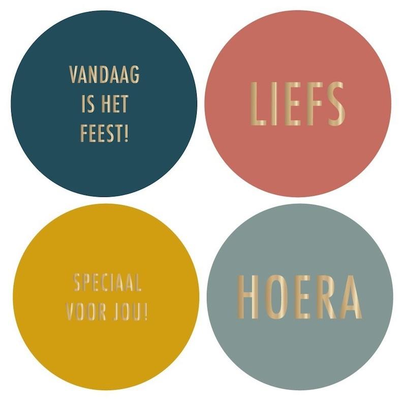 Stickers Multi |tekst goud (liefs, hoera, vandaag is het feest, speciaal voor jou) | 8 stuks