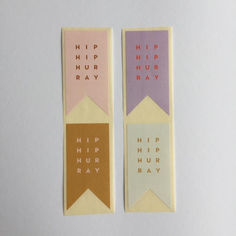 Sticker vaantje | Hip hip Hurray multi | 8 stuks