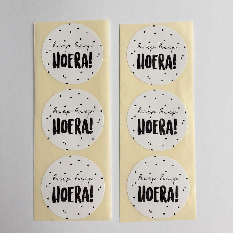 Sticker rond | hiep hiep hoera | 10 stuks