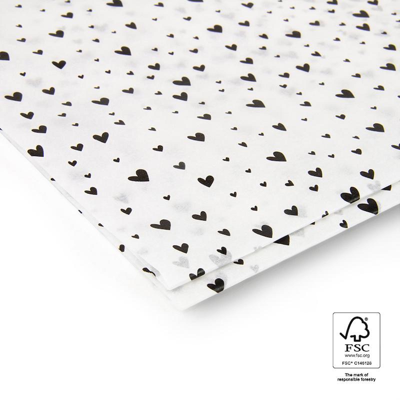 Tissue paper | zwarte hartjes | 1 vel