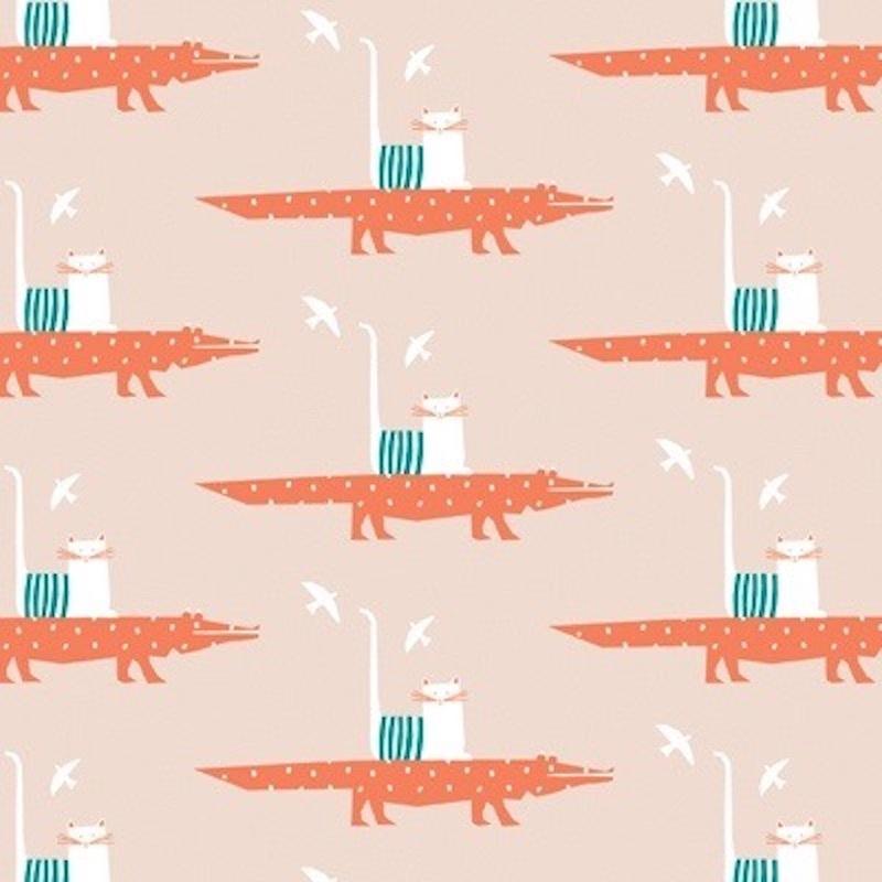 Cadeaupapier rol | krokodil taxi nude | 30 cm x 2 meter